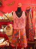 裾フリル リゾートフラワー ハーフパンツ(ピンク)