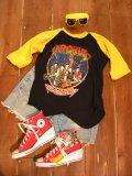 80's「KROKUS」ラグランTシャツ (ブラックxイエロー)
