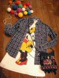 Used タータンチェック ネルシャツ(ネイビー×グレー)