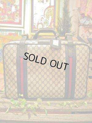 画像1: オールドグッチ モノグラム スーツケース(ネイビー)